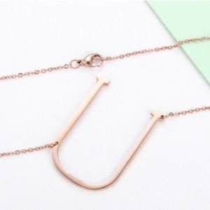 "Large Initial Letter "" U "" Rose Gold Necklace"